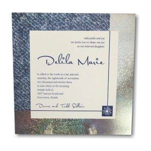 Denim and Diamonds Bat Mitzvah Invitation