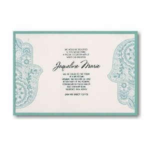 Hand of Miriam Layered Bat Mitzvah Invitation Sample