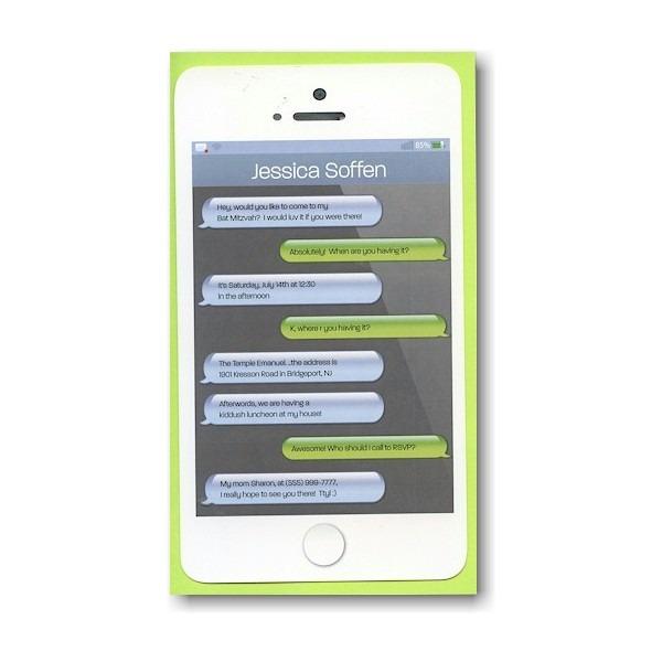Texting Layered Bat Mitzvah Invitation Sample