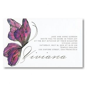Butterfly Kiss Bat Mitzvah Invitation