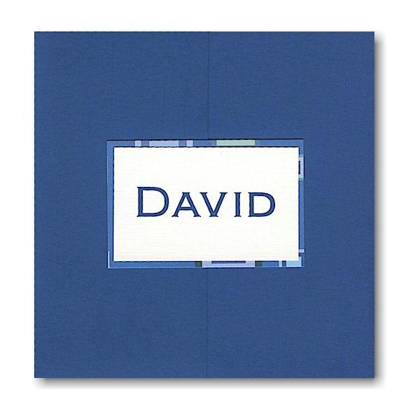 Burst of Blue Pocket Bar Mitzvah Invitation Sample