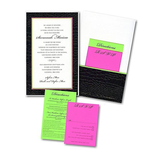 Charisma Pocket Bat Mitzvah Invitation Sample