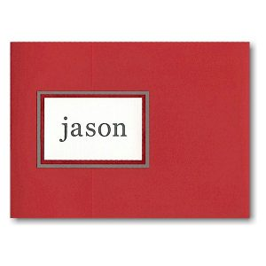 Crimson Pocket Folder Bar Mitzvah Invitation