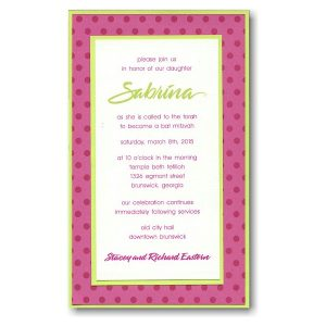 Distinguished Dots Pocket Bat Mitzvah Invitation Sample