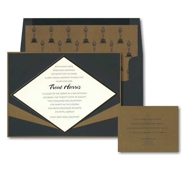 Hollywood Glamour Bar Mitzvah Invitation Sample