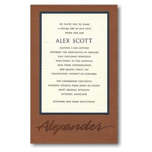 Layered with Leather Bar Mitzvah Invitation