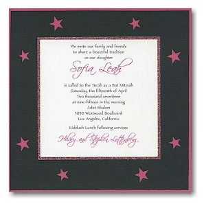 Star Studded Bat Mitzvah Invitation Sample