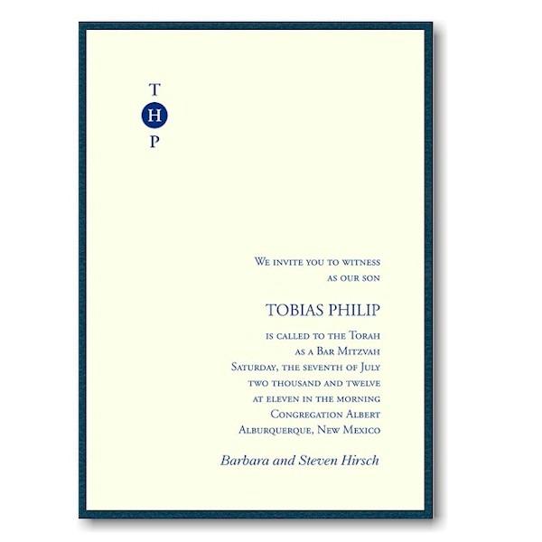 Tobias Bar Mitzvah Invitation Sample