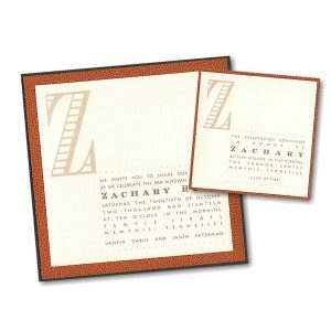 Triple Layer Basketball Bar Mitzvah Invitation