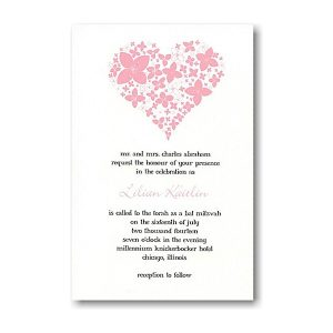 Floral Heart Bat Mitzvah Invitation