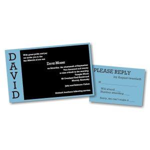 David Moshe in Blue Bar Mitzvah Invitation