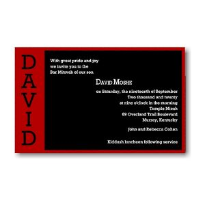 David Moshe in Red Bar Mitzvah Invitation Sample