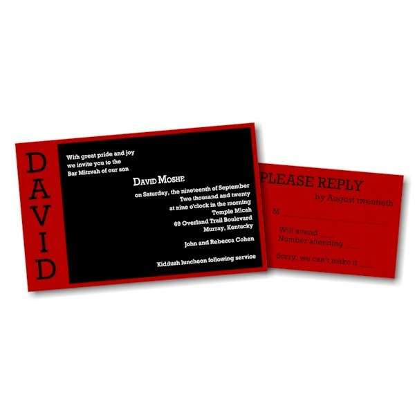 David Moshe in Red Bar Mitzvah Invitation