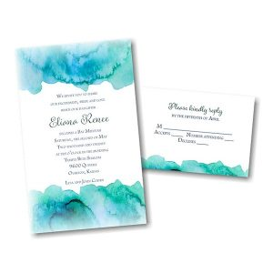 Eliana in Blue Bat Mitzvah Invitation alt