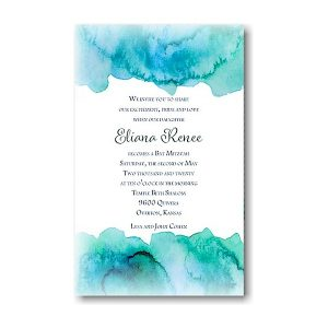 Eliana Blue Bat Mitzvah Invitation Sample
