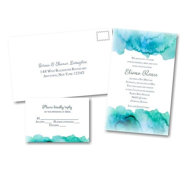 Eliana in Blue Bat Mitzvah Invitation