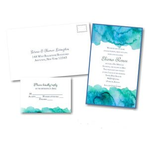 Eliana in Blue Layered Bat Mitzvah Invitation