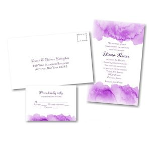 Eliana in Purple Bat Mitzvah Invitation