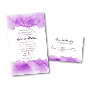 Eliana in Purple Bat Mitzvah Invitation alt
