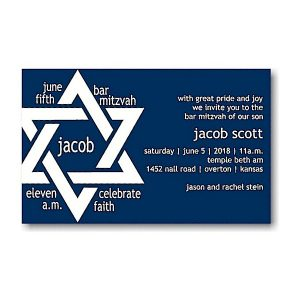 Jacob Scott in Navy Bar Mitzvah Invitation Sample