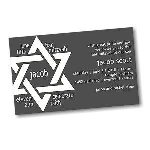 Jacob Scott on Black Bar Mitzvah Invitation alt