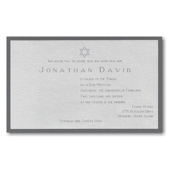 Jonathan David Layered Bar Mitzvah Invitation Sample