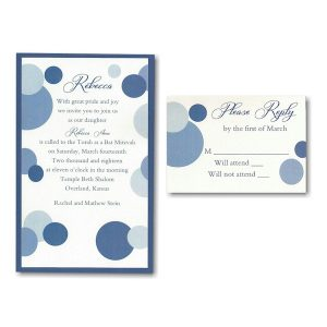 Mod Dots in Blue Layered Bat Mitzvah Invitation