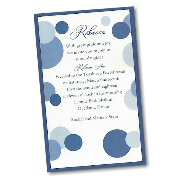 Mod Dots in Blue Layered Bat Mitzvah Invitation alt
