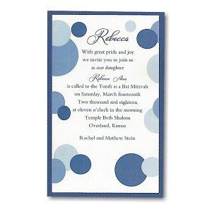 Mod Dots in Blue Layered Bat Mitzvah Invitation icon