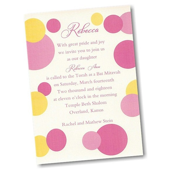 Mod Dots in Pink Bat Mitzvah Invitation alt