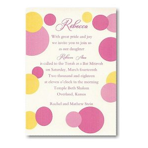 Mod Dots in Pink Bat Mitzvah Invitation Sample