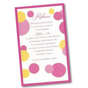 Mod Dots in Pink Layered Bat Mitzvah Invitation alt