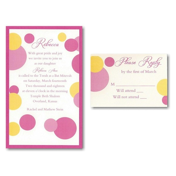 Mod Dots in Pink Layered Bat Mitzvah Invitation