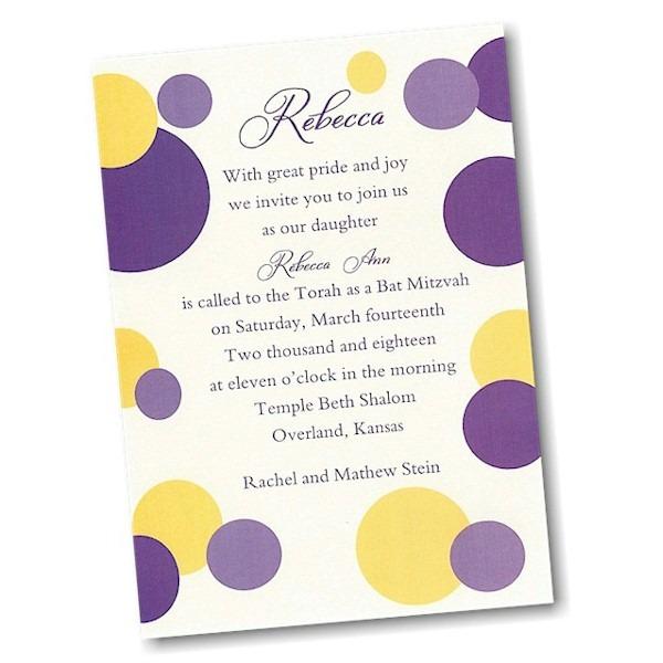 Mod Dots in Purple Bat Mitzvah Invitation alt