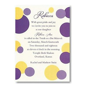 Mod Dots in Purple Bat Mitzvah Invitation icon