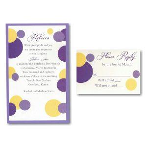 Mod Dots in Purple Layered Bat Mitzvah Invitation
