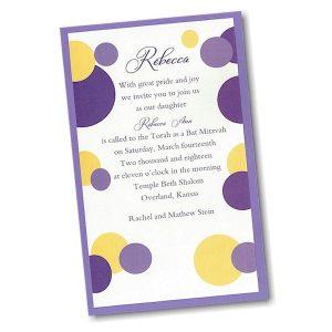 Mod Dots in Purple Layered Bat Mitzvah Invitation alt