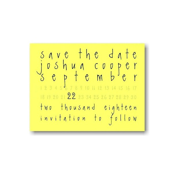 Neon Yellow Save the Date Card Sample