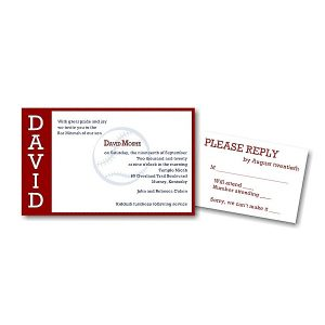 Perfect Pitch in Red Bar Mitzvah Invitation alt