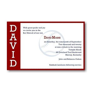 Perfect Pitch in Red Bar Mitzvah Invitation Sample