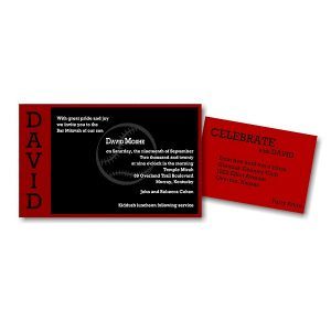 Perfect Pitch in Red and Black Bar Mitzvah Invitation alt