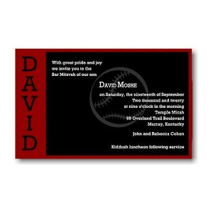 Perfect Pitch in Red and Black Bar Mitzvah Invitation Sample