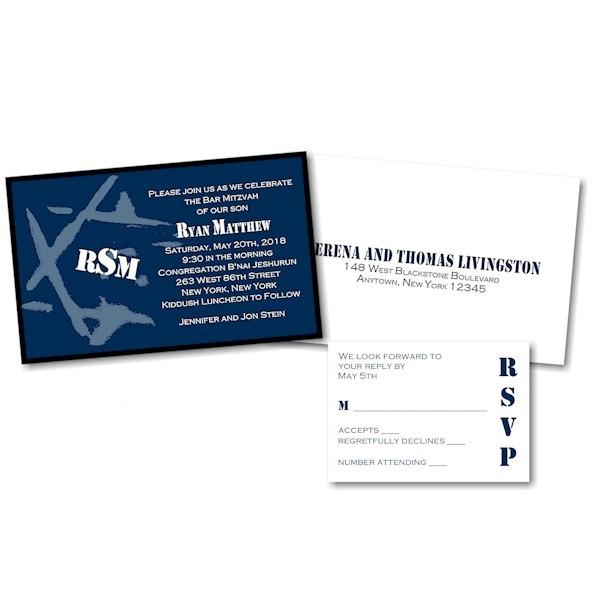 Ryan Matthew C Layered Bar Mitzvah Invitation