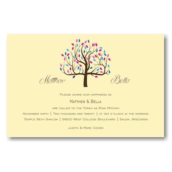 Tree of Life B'nai Mitzvah Invitation Sample