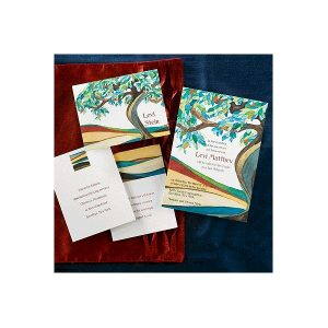 Tree of Life Cerulean Bar Mitzvah Invitation