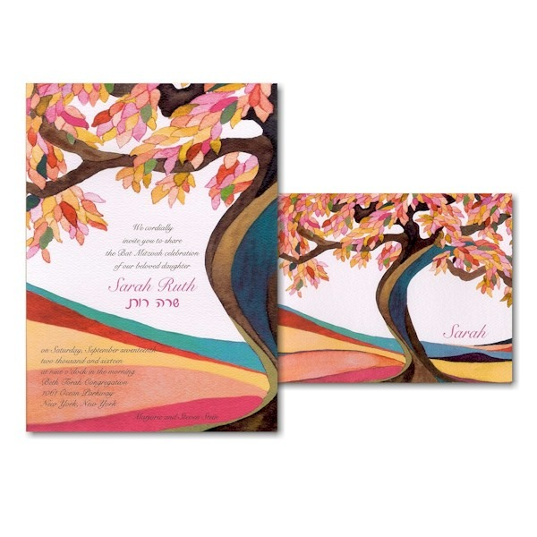 Tree of Life Magenta Bat Mitzvah Invitation alt