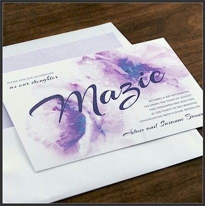 Aquarelle Bat Mitzvah Invitation