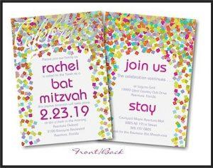 Bright Confetti Bat Mitzvah Invitation