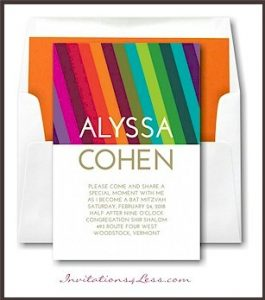 Bright Stripes Bat Mitzvah Invitation