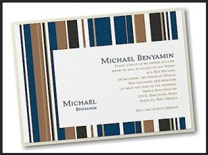 Handsome Stripes Layered Bar Mitzvah Invitation